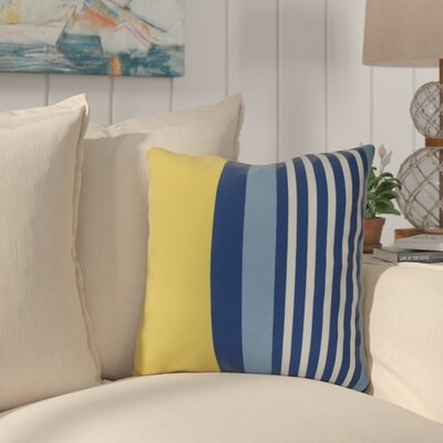 Bartow Beach Shack Outdoor Throw Pillow Size: 18 H x 18 W x 3 D, Color: Yellow/Blue