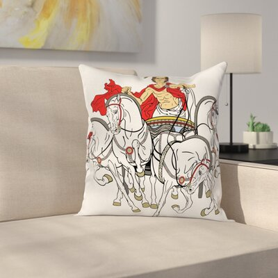 Hellenic Man Chariot Square Cushion Pillow Cover Size: 18 x 18