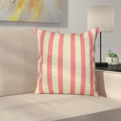 Stripe and Heart Pillow Cover Size: 24 x 24