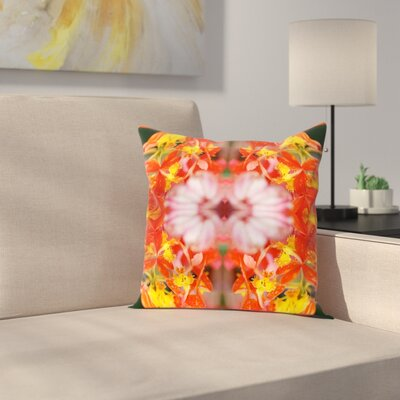 Orchids Square Outdoor Throw Pillow Size: 20 H x 20 W x 2 D, Color: Red/Yellow
