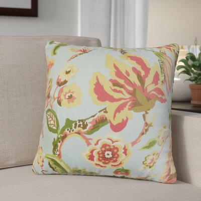 Brisson Floral Cotton Throw Pillow Color: Light Blue