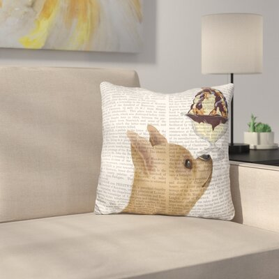 Chihuahua Fawn Ice Cream Throw Pillow
