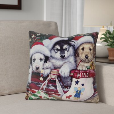 Berkey a Tail Wagging Christmas Throw Pillow