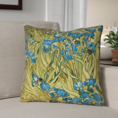 Bristol Woods Irises Double Sided Print Throw Pillow Color: Yellow/Blue, Size: 16 x 16