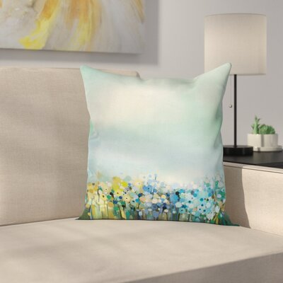 Flowers Aqua Painting Effect Square Pillow Cover Size: 24 x 24