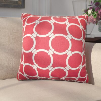 Donatella Geometric Cotton Throw Pillow Color: Red