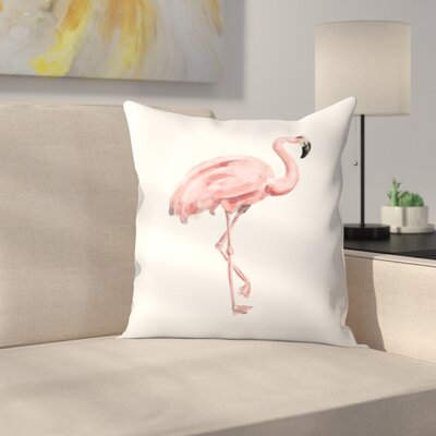 Jetty Printables Painted Flamingo Throw Pillow Size: 14 x 14