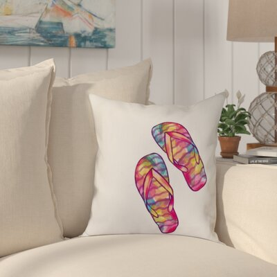 Granata Rainbow Flip Flops Geometric Print Throw Pillow Size: 26 H x 26 W, Color: White