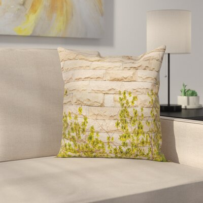 Brick Wall with Leaf Square Pillow Cover Size: 24 x 24