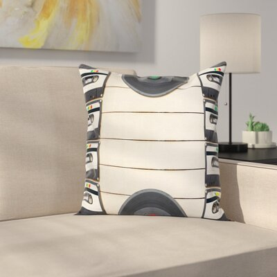 Audio Cassettes Records Square Cushion Pillow Cover Size: 24 x 24