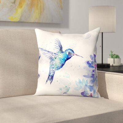 Blue Hummingbird Floral Throw Pillow Size: 16 x 16