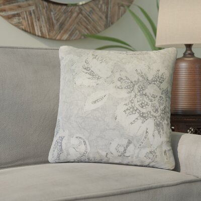 Cadena Floral Cotton Throw Pillow Color: Gray