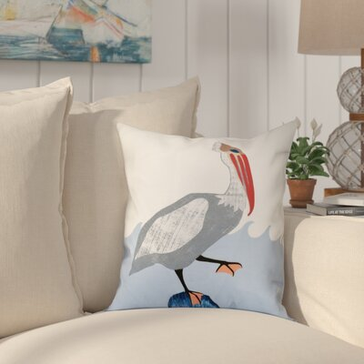 Boubacar Bird Wave Animal Print Throw Pillow Size: 20 H x 20 W, Color: Gray