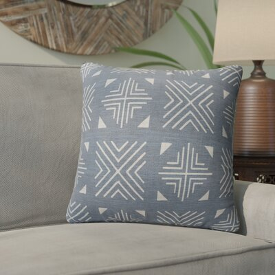 Bemelle Mud Cloth Throw Pillow Size: 18 H x 18 W, Color: Blue/ Taupe