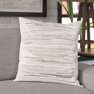Alanson Throw Pillow Color: White/Taupe, Size: 20 H x 20 W x 5 D, Type/Fill: Pillow With Down Insert