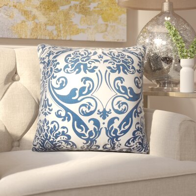 Chessani Damask Cotton Throw Pillow Color: Navy Blue