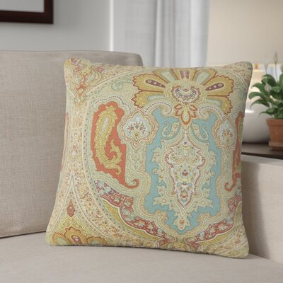 Dillsboro Damask Linen Throw Pillow Color: Turquoise/Red