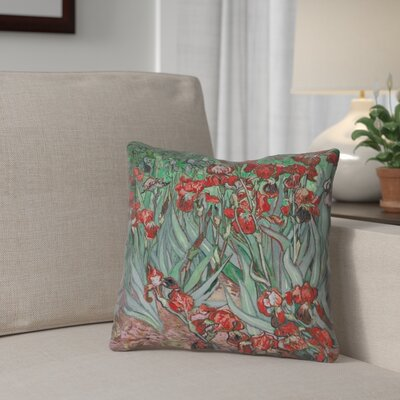 Morley Irises Throw Pillow Color: Red, Size: 16 x 16