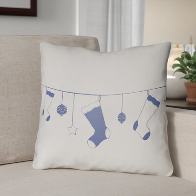 Socks Indoor/Outdoor Throw Pillow Size: 18 H x 18 W x 4 D, Color: White / Blue