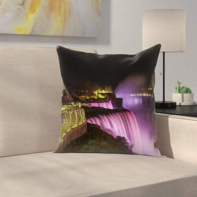 Niagara Falls In Pink Idyllic Nightscape Throw Pillow Size: 16 x 16