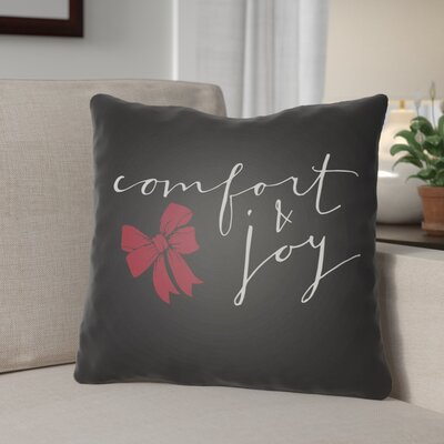 Comfort & Joy Indoor/Outdoor throw cushion Size: 18 H x 18 W x 4 D, Color: Black / White