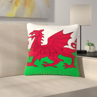 Bruce Stanfield Flag of Wales - Authentic Fantasy Illustration Outdoor Throw Pillow Size: 18 H x 18 W x 5 D