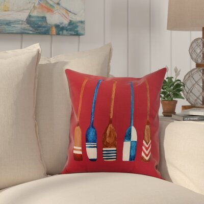 Bryson Oar Multi Painted Throw Pillow Color: Red, Size: 16 x 16