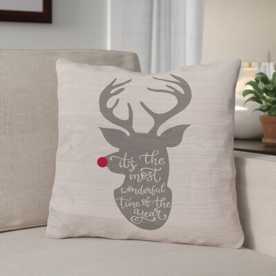 Wonderful Time Reindeer Throw Pillow Size: 18 x 18
