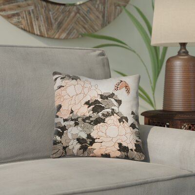 Clair Peonies with Butterfly Indoor Throw Pillow Color: Orange, Size: 18 x 18