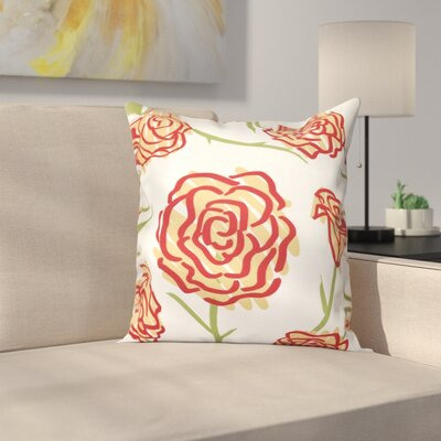 Cherry Spring Floral 1 Outdoor Throw Pillow Size: 18 H x 18 W, Color: Gold