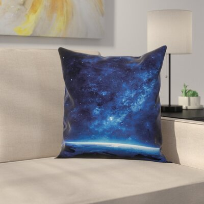 Earth View Cosmic Night Square Pillow Cover Size: 16 x 16