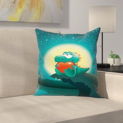 Dinosaur Cute Romantic Dino Square Cushion Pillow Cover Size: 20 x 20