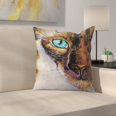 Michael Creese Siamese Cat Painting Throw Pillow Size: 14 x 14