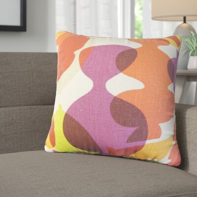 Kourtney Modern Geometric Linen Throw Pillow Color: Purple