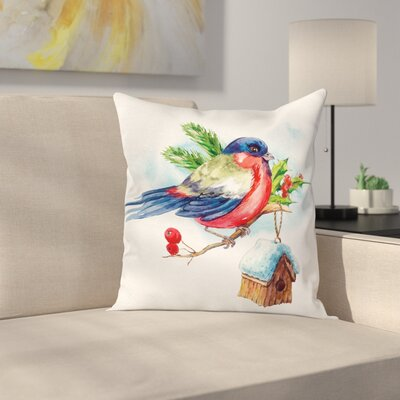 Christmas Bird Holly Pine Square Pillow Cover Size: 16 x 16