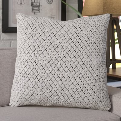 Kavita Woven Leather Throw Pillow Color: Gray