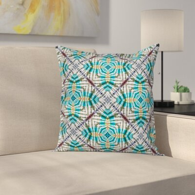Tie Dye Flower Figures Square Pillow Cover Size: 24 x 24