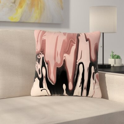 Nina May Drip Outdoor Throw Pillow Color: Peach/Black, Size: 16 H x 16 W x 5 D