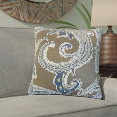 Giovanna Paisley Cotton Throw Pillow Color: Truffle