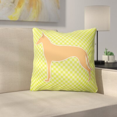 Pharaoh Hound Square Indoor/Outdoor Throw Pillow Size: 14 H x 14 W x 3 D, Color: Green