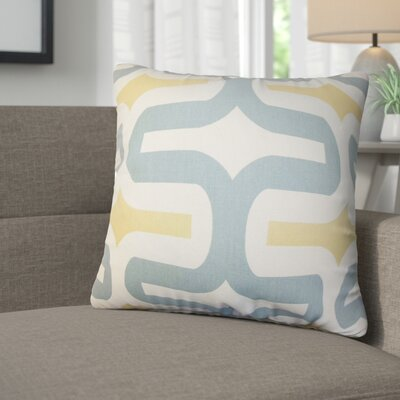 Angeline Geometric Square Cotton Throw Pillow Color: Gray