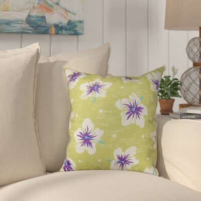 Golden Beach Hibiscus Blooms Floral Outdoor Throw Pillow Size: 18 H x 18 W, Color: Light Green