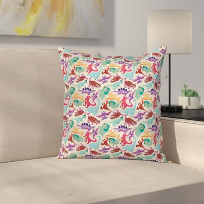 Funny Monsters Cartoon Square Pillow Cover Size: 16 x 16