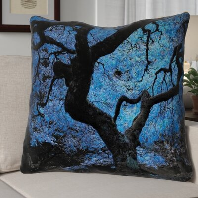 Ghost Train Modern Blue Japanese Maple Tree Throw Pillow Cover Size: 14 H x 14 W