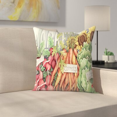 Market Throw Pillow Color: Orange/Venetian Red/Olive Green, Size: 14 x 14