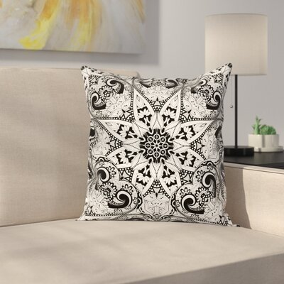 Mandala Ethnic Indian Pattern Square Pillow Cover Size: 18 x 18