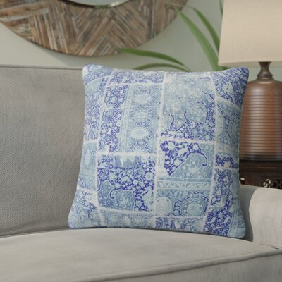 Duane Patchwork Throw Pillow Size: 18 H x 18 W x 6 D, Color: Blue/ Purple/ Ivory