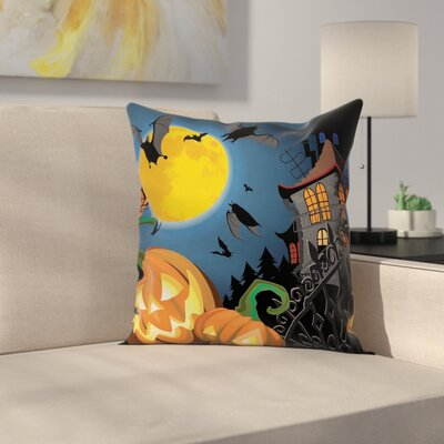 Halloween Decor Moon Pumpkin Square Pillow Cover Size: 24 x 24