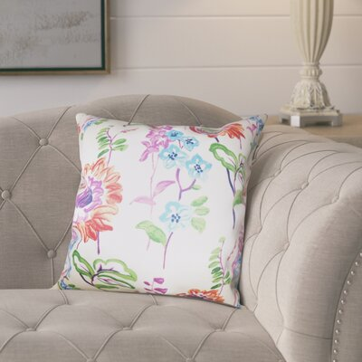 Elissa Floral Cotton Throw Pillow Color: Multi, Size: 22 x 22