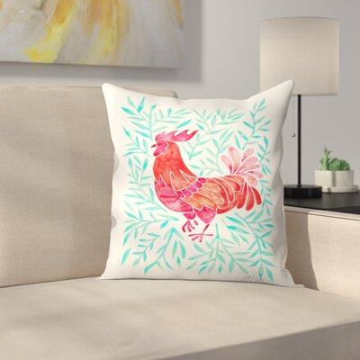 Cat Coquillette Lecoq Leaves Throw Pillow Color: Green/Red, Size: 18 x 18